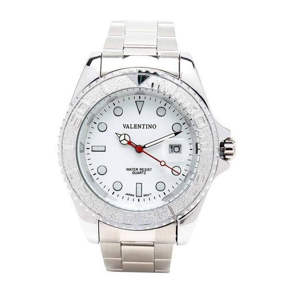 Watches - Valentino Y-MASTER IP WHITE STYLE G MEN  STAINLESS BAND Strap Watch 20121587-SILVER - WHITE DIAL