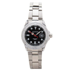 Valentino 20121588-SILVER - BLACK DIAL Y-MASTER IP WHITE STYLE L  STAINLESS BAND STRAP Watch for Women