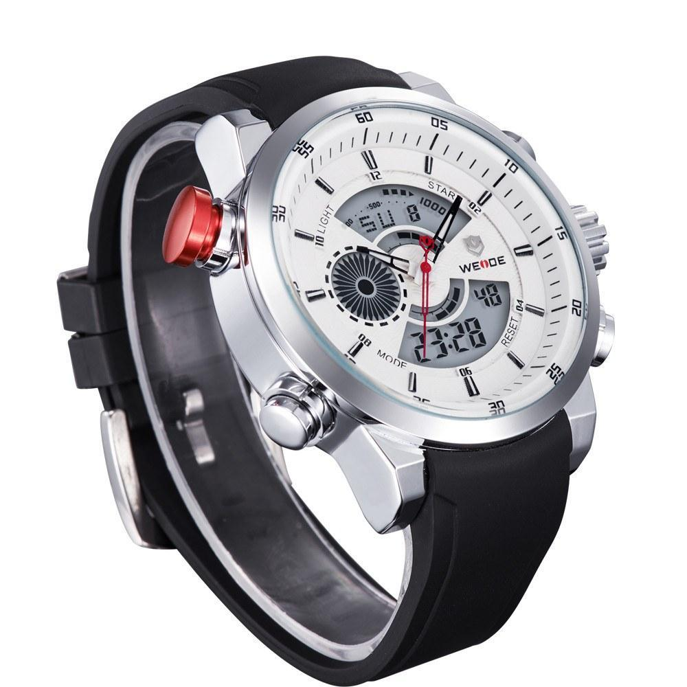 Watches - Weide Analog And LCD Bicast Leather Strap Watch For Men - WH3401-2C-RUB WHT DIAL