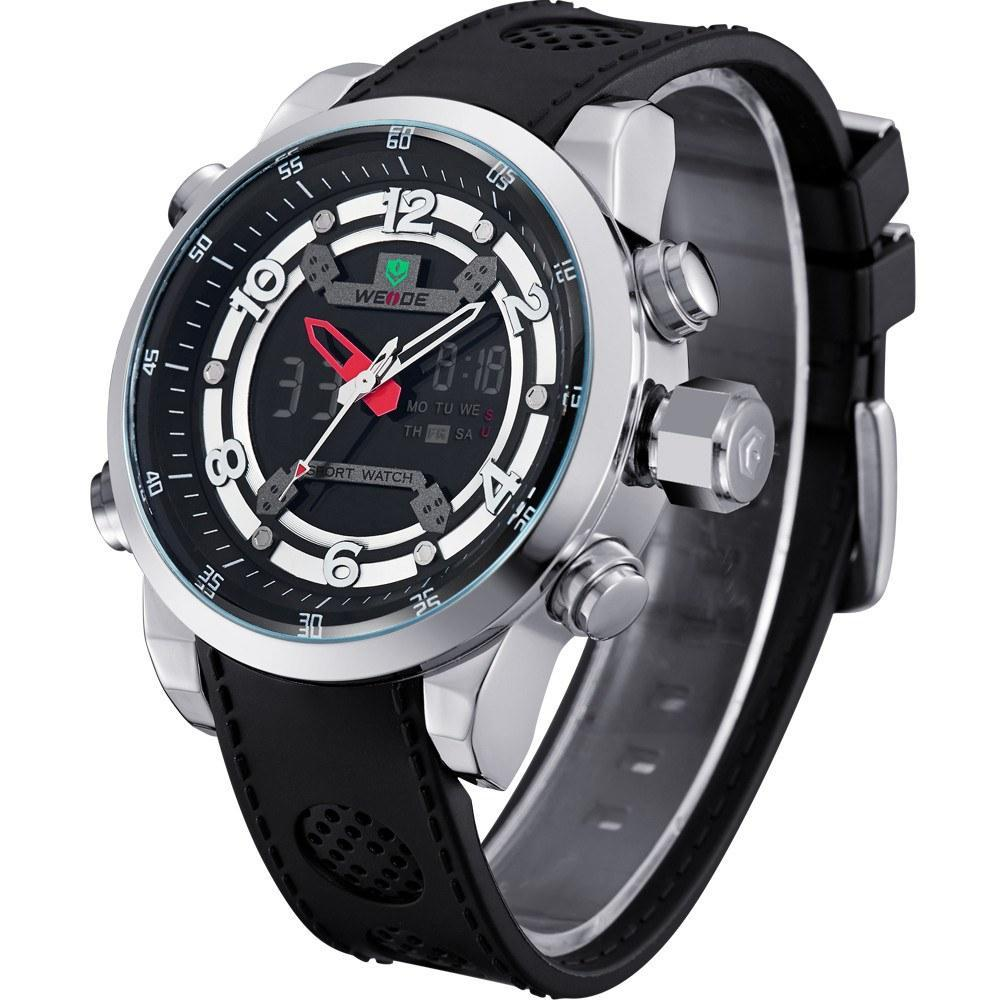 Watches - Weide Analog And LCD Digital Bicast Leather Strap Watch For Men - WH3315-1C-BLACK DIAL