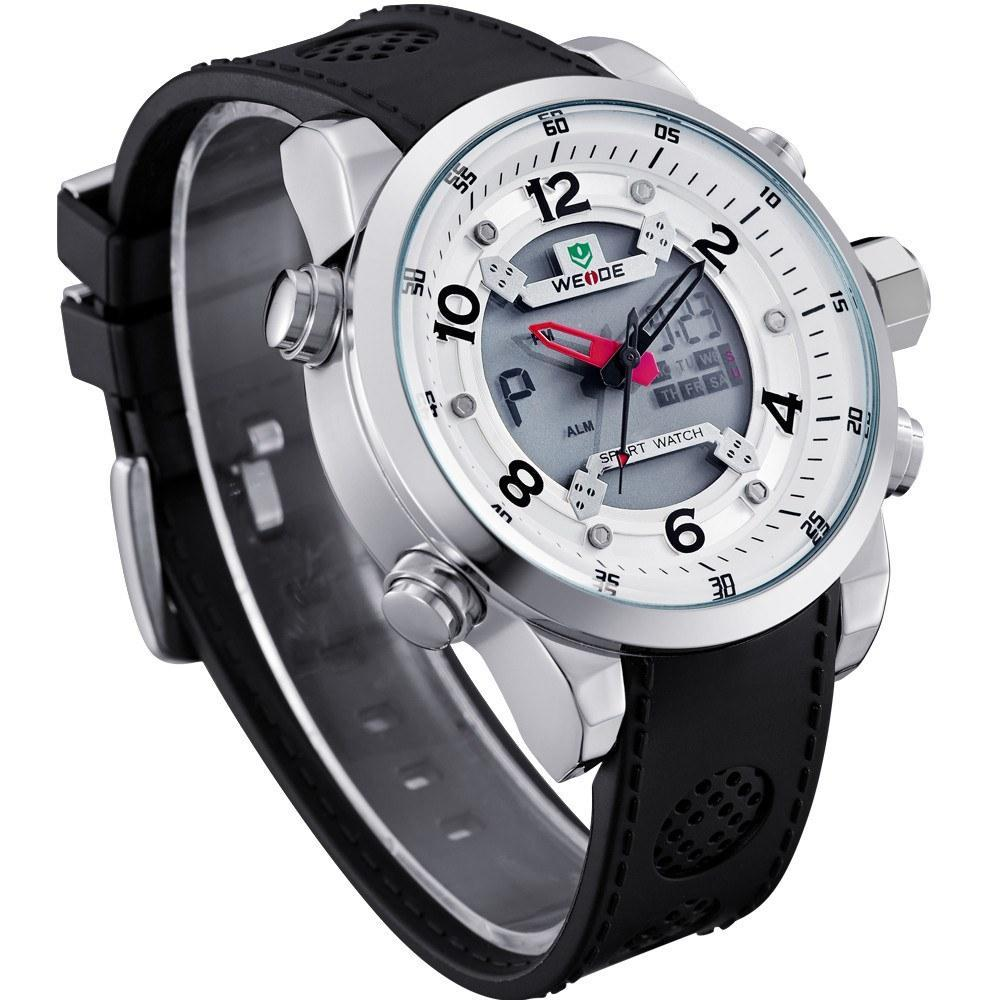 Watches - Weide Analog And LCD Digital Bicast Leather Strap Watch For Men - WH3315-2C-WHITE DIAL