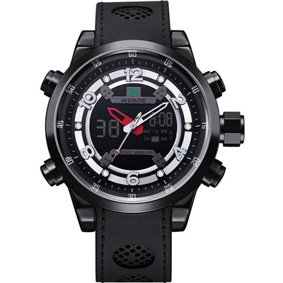 Watches - Weide Analog And LCD Digital Bicast Leather Strap Watch For Men - WH3315B-1C-WHITE INDEX
