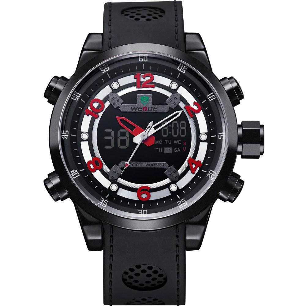 watches quartz men stainless lcd digital band sports movements wrist steel s watch red man weide