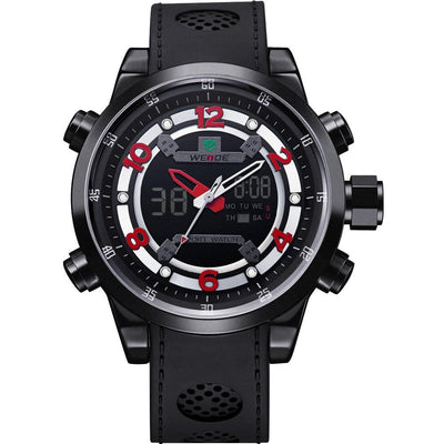Watches - Weide Analog And LCD Digital Bicast Leather Strap Watch For Men - WH3315B-2C-RED INDEX