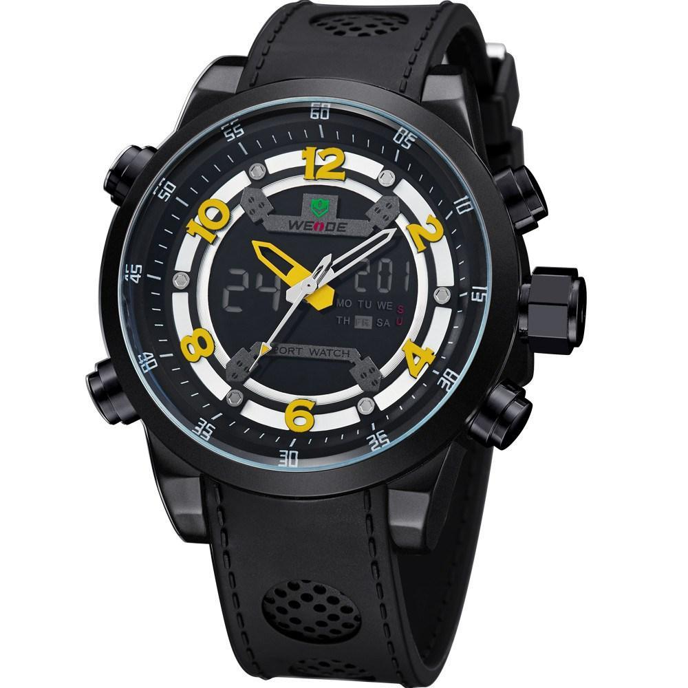 Watches - Weide Analog And LCD Digital Bicast Leather Strap Watch For Men - WH3315B-3C-YELLOW INDEX