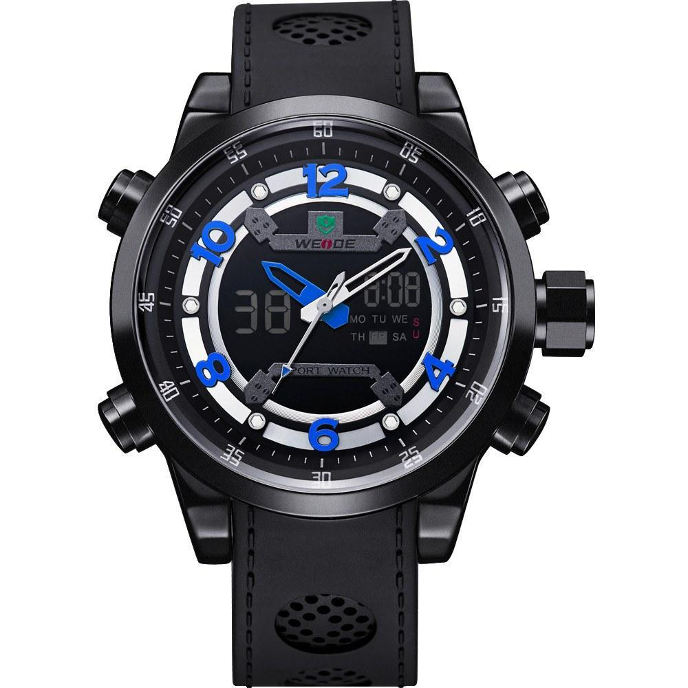 Watches - Weide Analog And LCD Digital Bicast Leather Strap Watch For Men - WH3315B-4C-BLUE INDEX