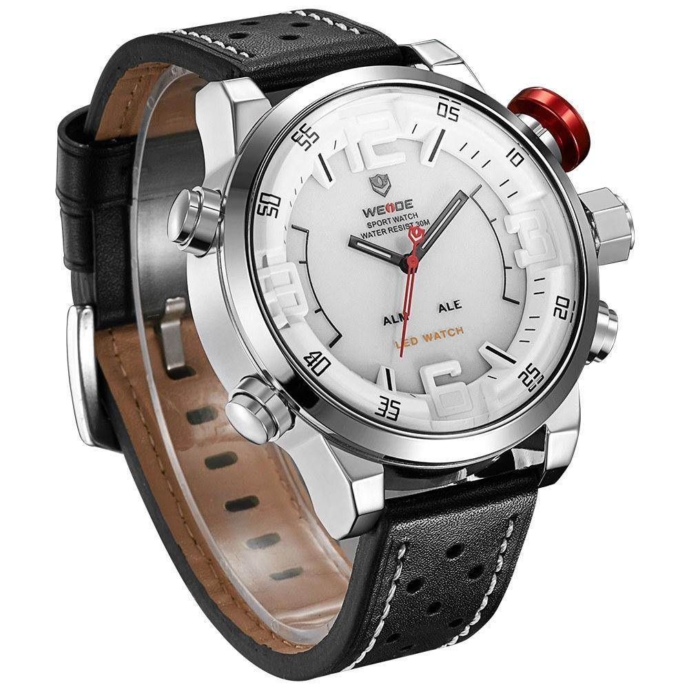 Watches - Weide Analog And LCD Digital Display Genuine Leather Watch For Men - WH5210-2-WHITE DIAL