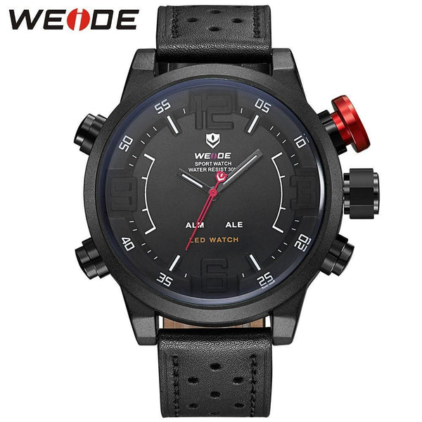 Watches - Weide Analog And LCD Digital Display Genuine Leather Watch For Men - WH5210B-1-WHITE INDEX