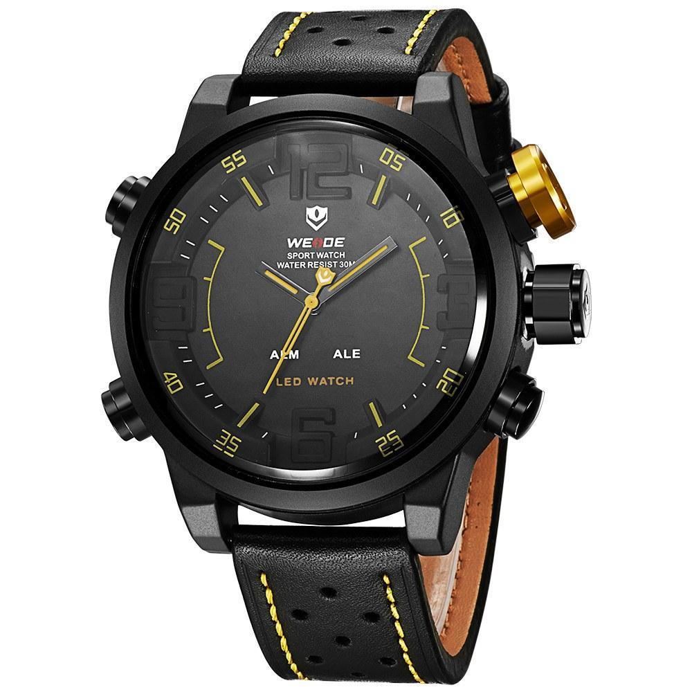 Watches - Weide Analog And LCD Digital Display Genuine Leather Watch For Men - WH5210B-3-YELLOW INDEX