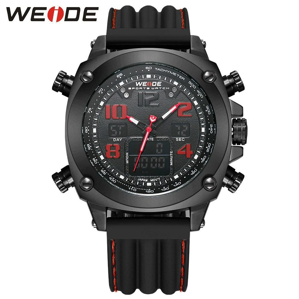 Watches - Weide Analog And LCD Digital Display Silicon Strap Watch For  Men - WH5208B-2C-RED INDEX