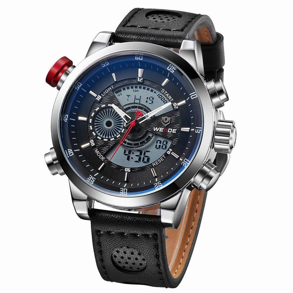 Watches - Weide Analog And LCD Digital Genuine Leather Strap Watch For Men - WH3401-3C-LTHR BLK DIAL