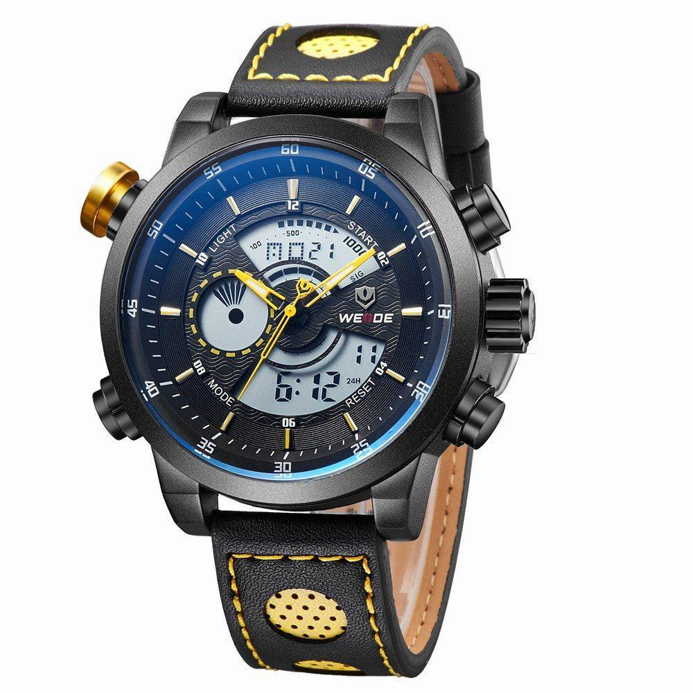 Watches - Weide Analog And LCD Digital Genuine Leather Strap Watch For Men - WH3401B-7C-LTHR YEL INDEX
