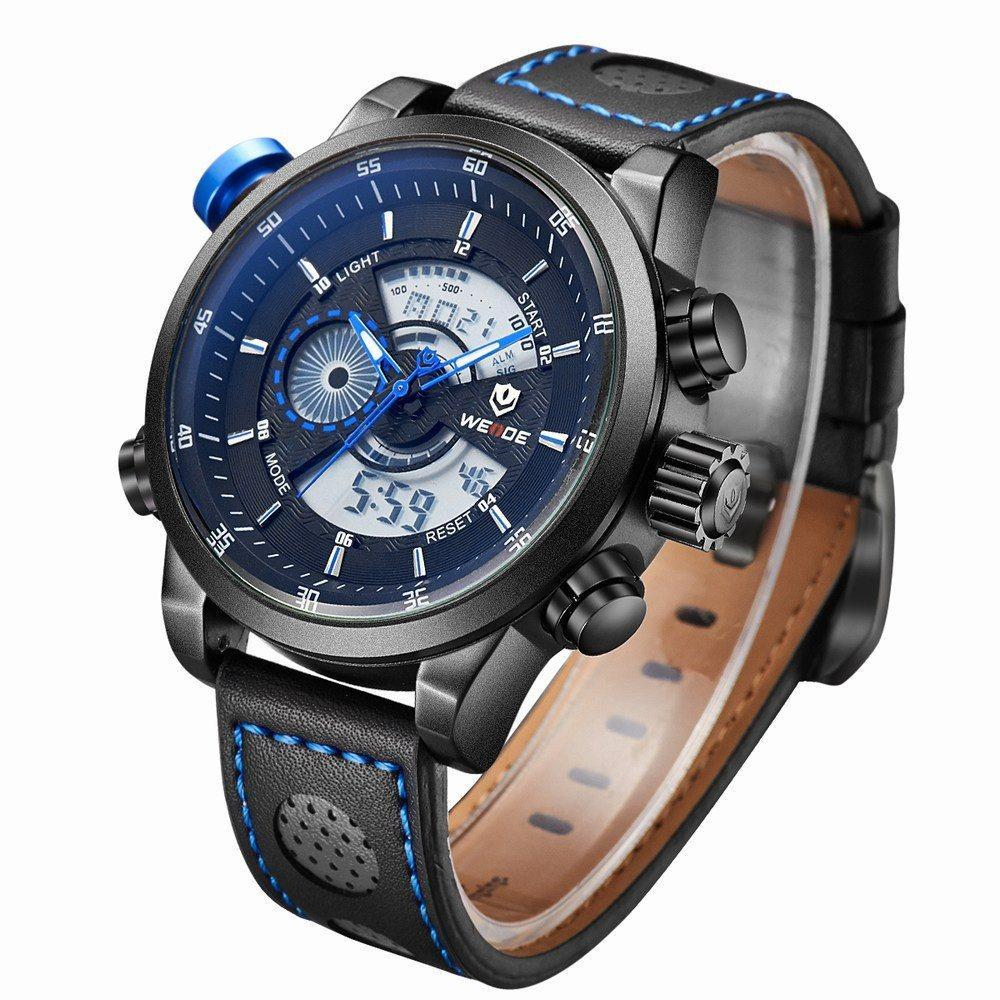 Watches - Weide Analog And LCD Digital Genuine Leather Strap Watch For Men - WH3401B-8C-LTHR BLU INDEX