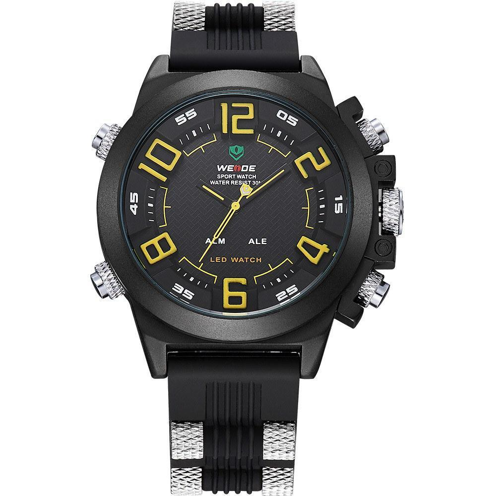 Watches - Weide Analog And Led Digital Display SS Band With Silicon Strap Watch For Men - WH5202-3C-YELLOW INDEX