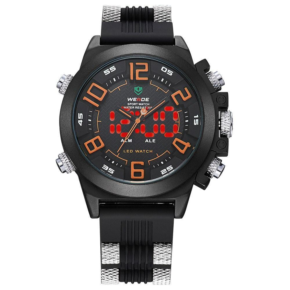 Watches - Weide Analog And Led Digital Display SS Band With Silicon Strap Watch For Men - WH5202-5C-ORANGE INDEX
