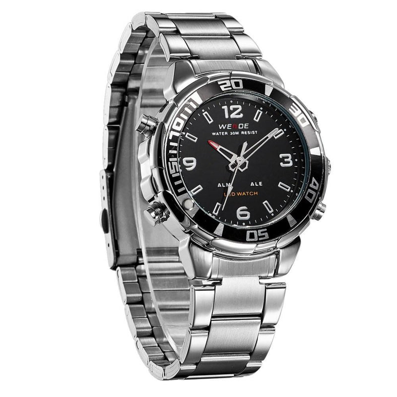 Watches - Weide Analog And Led Digital Display Stainless Steel Strap Watch For Men - WH843-1C-BLACK DIAL