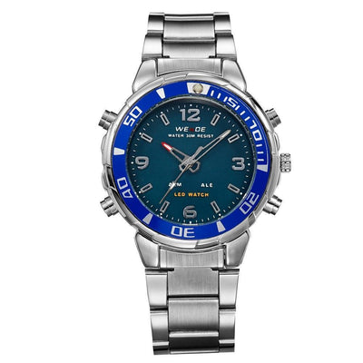 Watches - Weide Analog And Led Digital Display Stainless Steel Strap Watch For Men - WH843-3C-BLUE GREEN DIAL