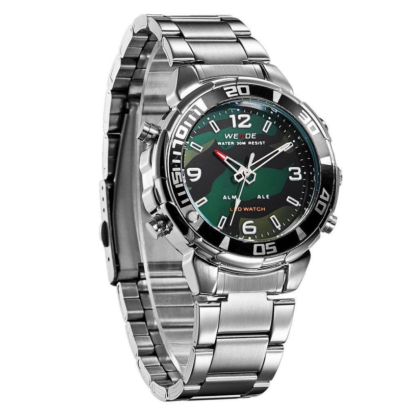 Watches - Weide Analog And Led Digital Display Stainless Steel Strap Watch For Men - WH843-4C-CAMOU DIAL
