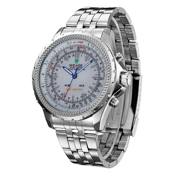 Watches - Weide Analog And Led Digital Display Stainless Steel Strap Watch For Men - WH904-2C-SILVER DIAL