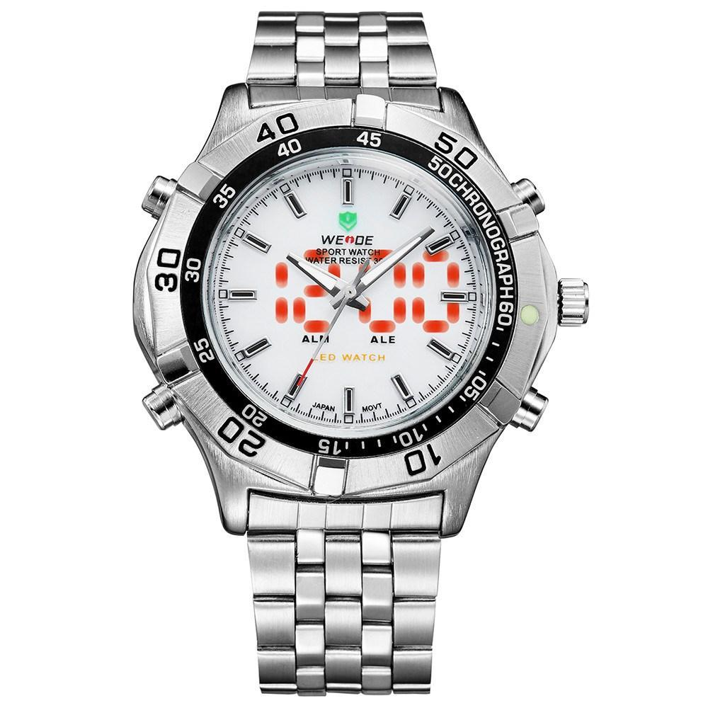 Watches - Weide Analog And Led Digital Display Stainless Steel Strap Watch For Men - WH905-2C-SILVER DIAL