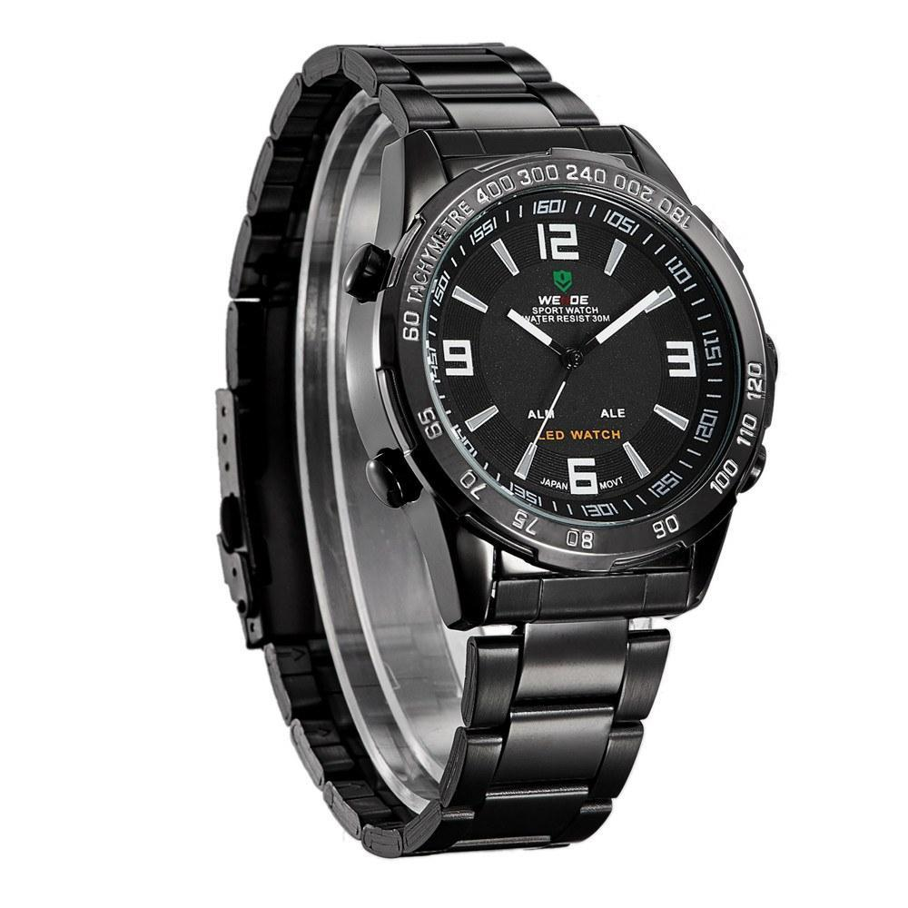 Watches - Weide Analog And LED Display Black Stainless Steel Strap Watch For Men - WH1009B-1C-WHITE INDEX