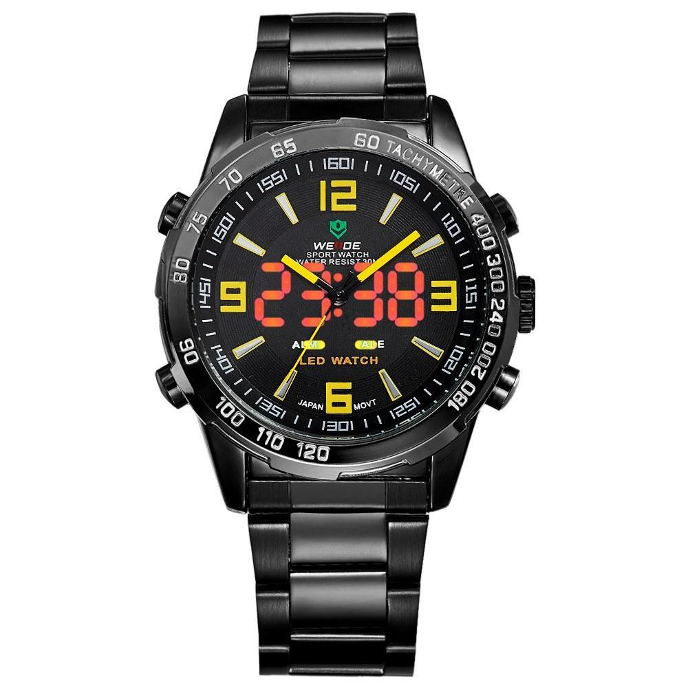 Watches - Weide Analog And LED Display Black Stainless Steel Strap Watch For Men - WH1009B-3C-YELLOW INDEX