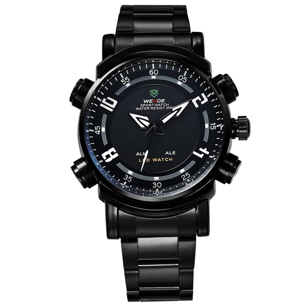 Watches - Weide Analog And LED Display Black Stainless Steel Strap Watch For Men - WH1101B-1C-WHITE INDEX