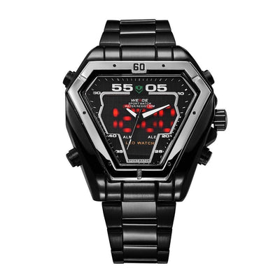 Watches - Weide Analog And LED Display Black Stainless Steel Strap Watch For Men - WH1102B-1C-WHITE INDEX