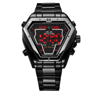 Watches - Weide Analog And LED Display Black Stainless Steel Strap Watch For Men - WH1102B-2C-RED INDEX