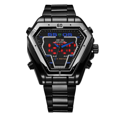Watches - Weide Analog And LED Display Black Stainless Steel Strap Watch For Men - WH1102B-4C-BLUE INDEX