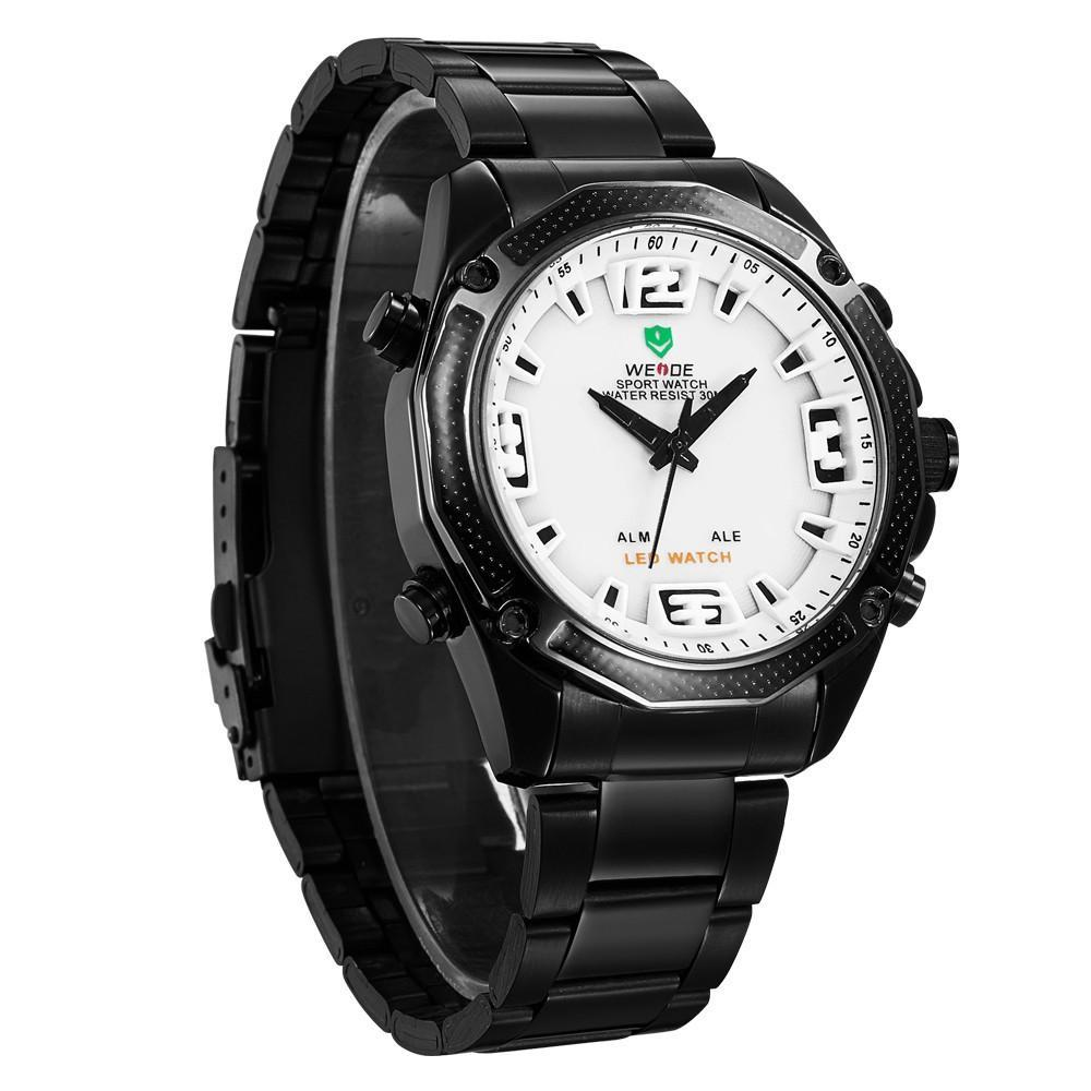 Watches - Weide Analog And LED Display Black Stainless Steel Strap Watch For Men - WH2306B-2C-WHITE DIAL