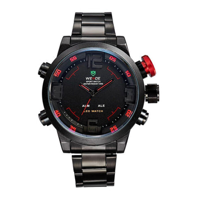 Watches - Weide Analog And LED Display Black Stainless Steel Strap Watch For Men - WH2309B-2C-RED INDEX