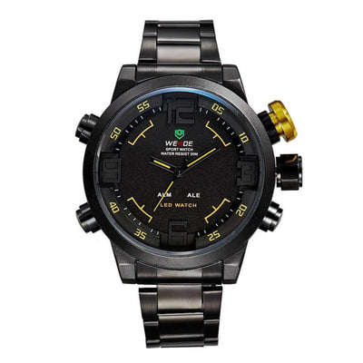 Watches - Weide Analog And LED Display Black Stainless Steel Strap Watch For Men - WH2309B-3C-YELLOW INDEX