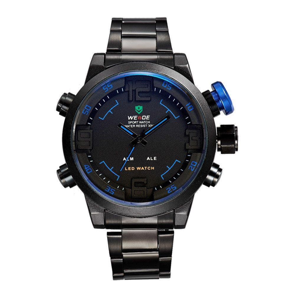 Watches - Weide Analog And LED Display Black Stainless Steel Strap Watch For Men - WH2309B-4C-BLUE INDEX