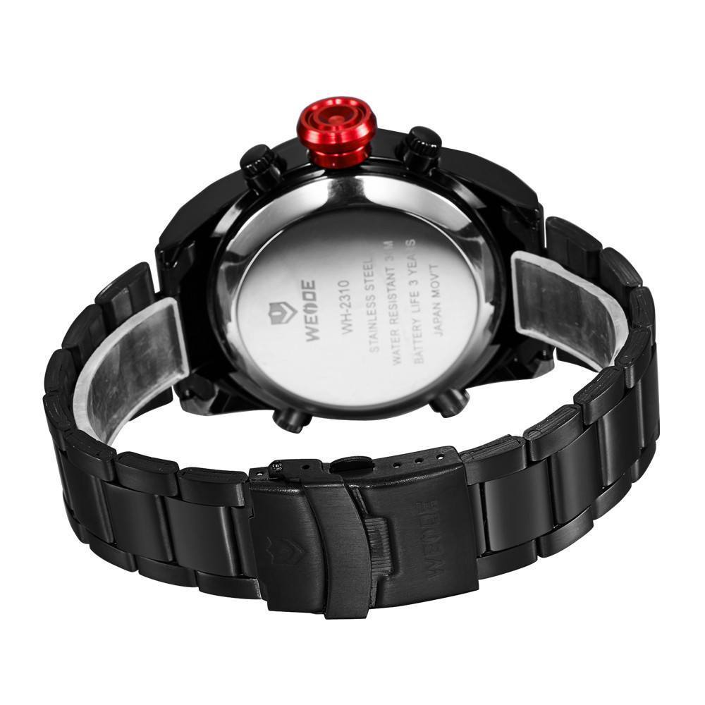 Watches - Weide Analog And LED Display Black Stainless Steel Strap Watch For Men - WH2310B-2C-RED INDEX