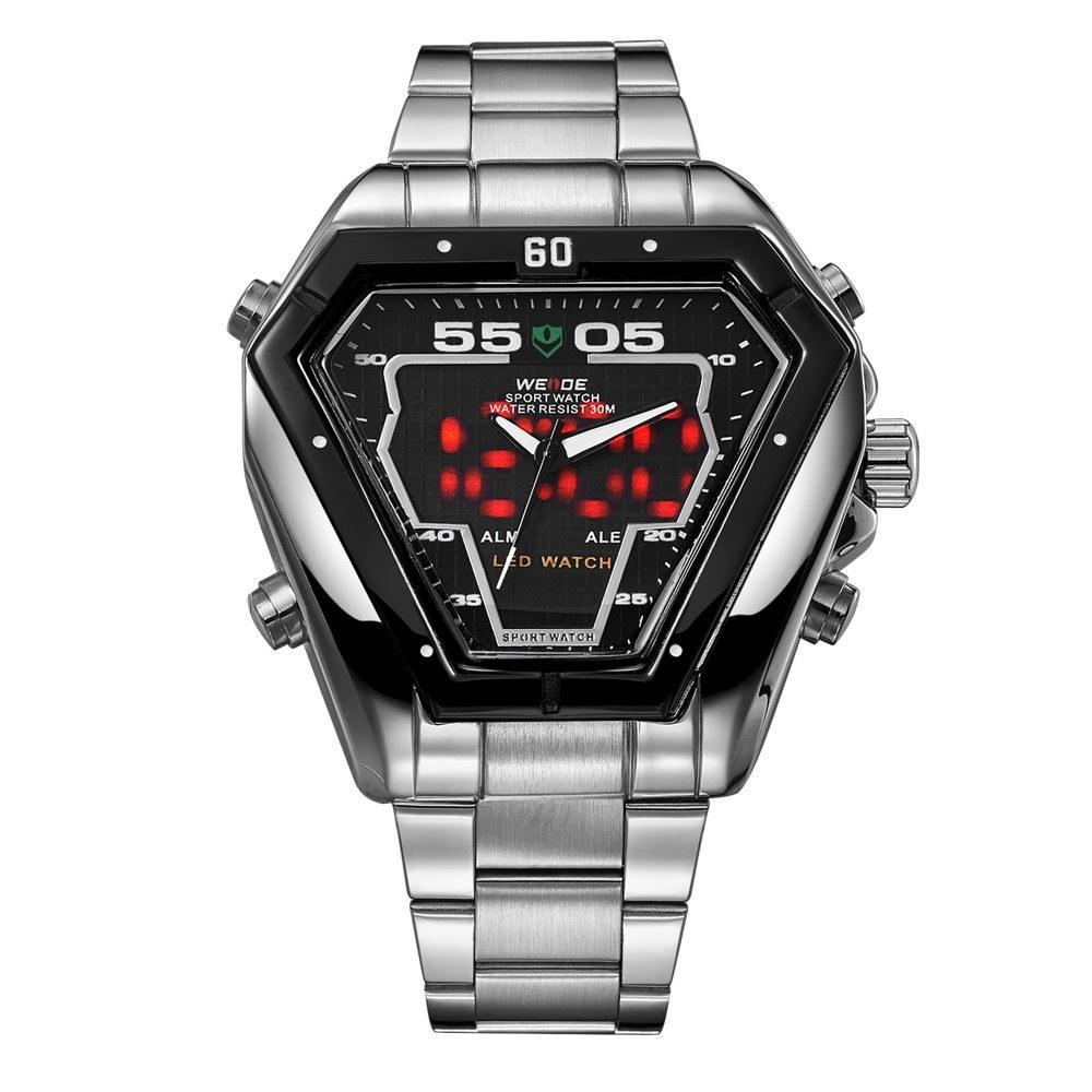 Watches - Weide Analog And LED Display Silver Stainless Steel Strap Watch For Men - WH1102-1C-BLACK DIAL