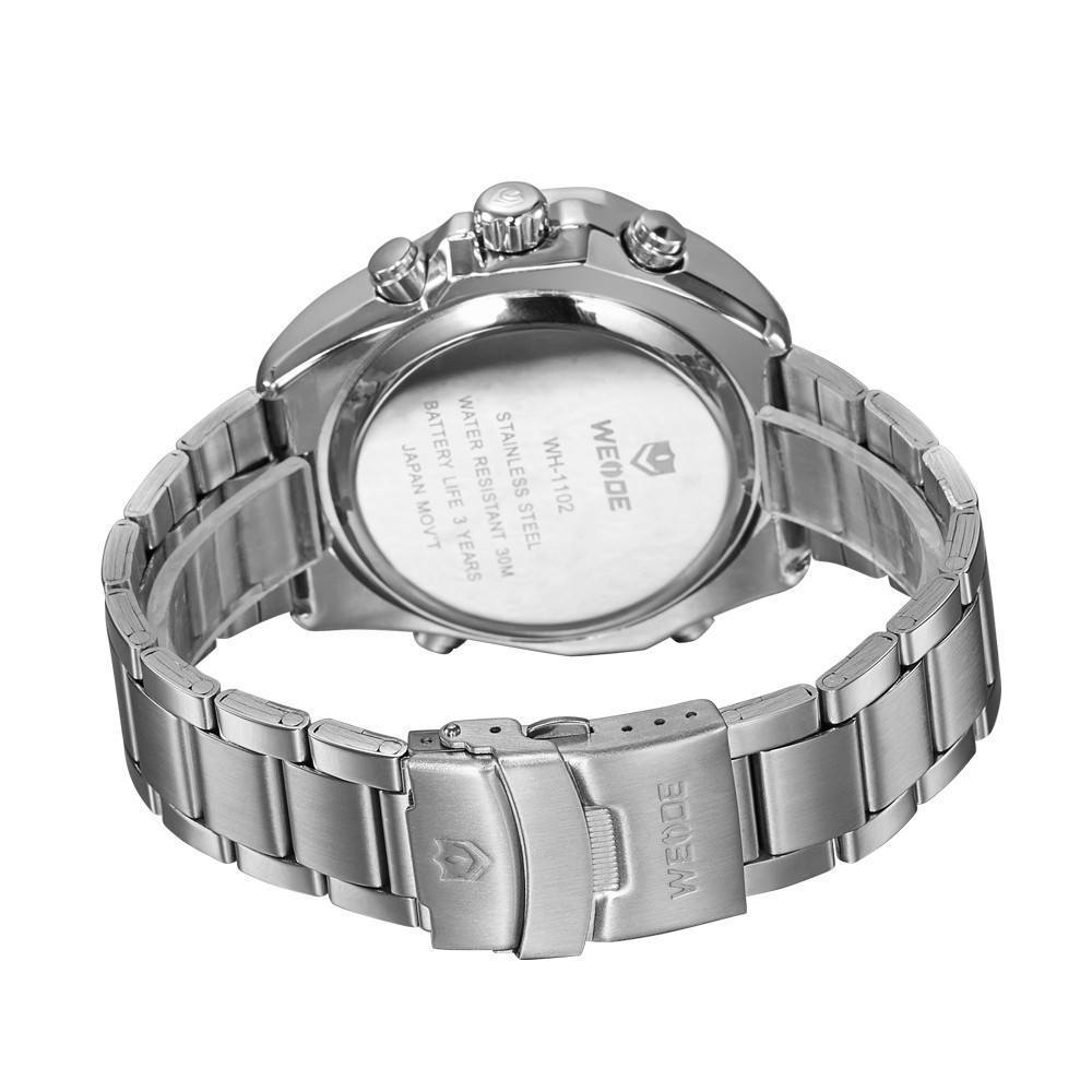 Watches - Weide Analog And LED Display Silver Stainless Steel Strap Watch For Men - WH1102-2C-WHITE DIAL