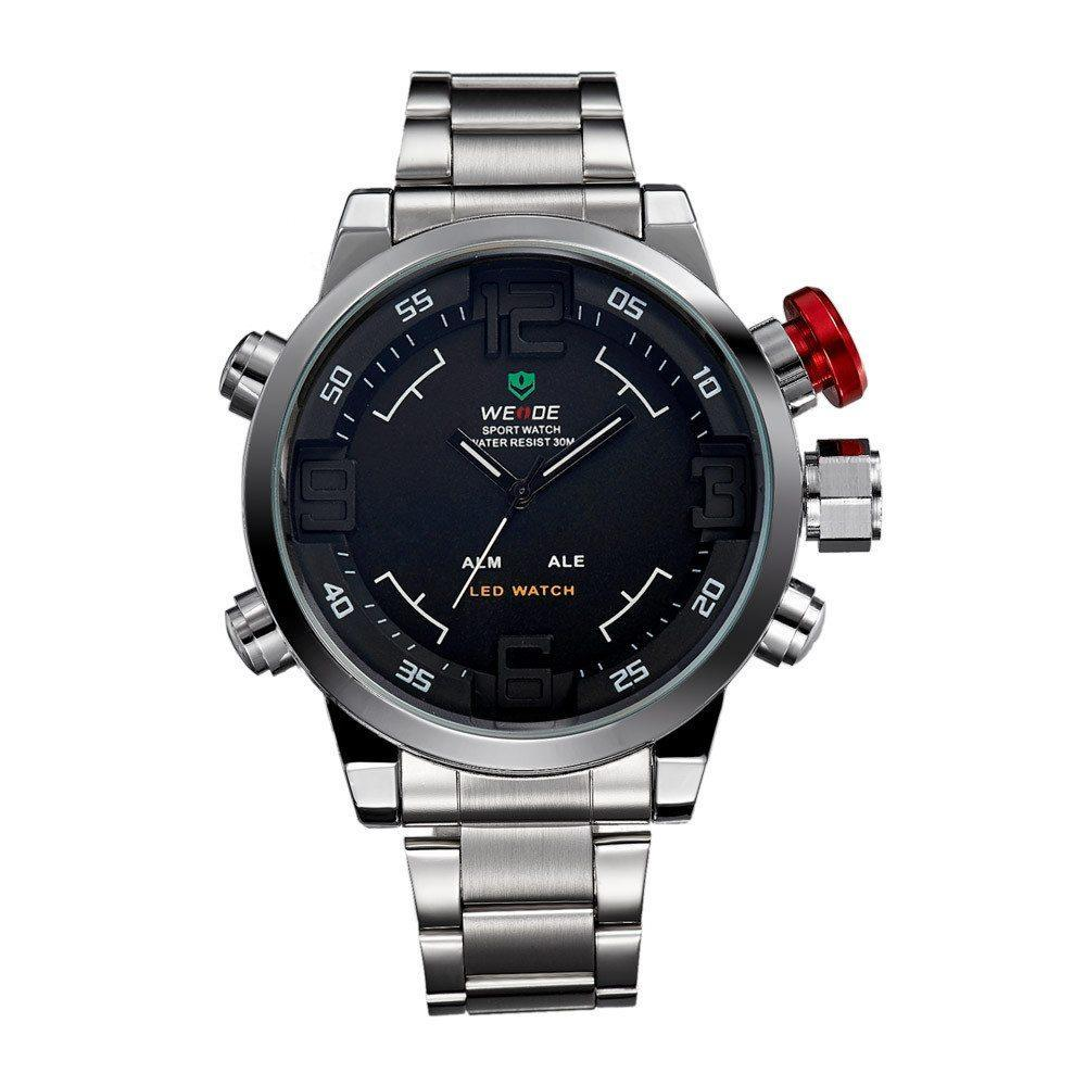 Watches - Weide Analog And LED Display Silver Stainless Steel Strap Watch For Men - WH2309-1C-BLACK DIAL