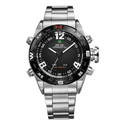 Watches - Weide Analog And LED Display Silver Stainless Steel Strap Watch For Men - WH2310-1C-BLACK DIAL