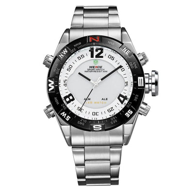 Watches - Weide Analog And LED Display Silver Stainless Steel Strap Watch For Men - WH2310-2C-WHITE DIAL