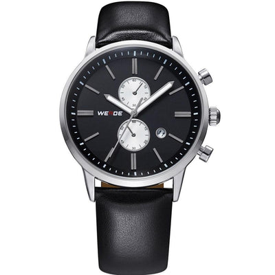 Watches - Weide Analog Black Leather Strap Watch For Men - WH3302-1C-BLACK DIAL