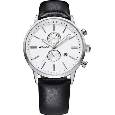Watches - Weide Analog Black Leather Strap Watch For Men - WH3302-2C-WHITE DIAL