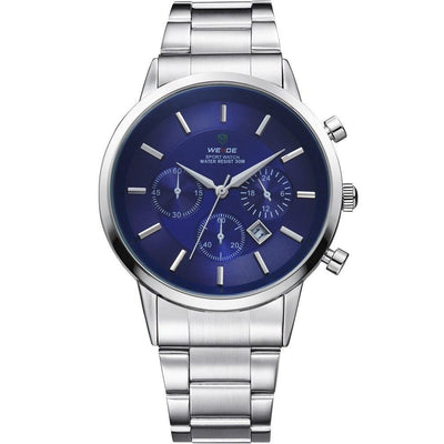 Watches - Weide Analog Stainless Steel Strap Watch For Men - WH3312-3C-BLUE DIAL