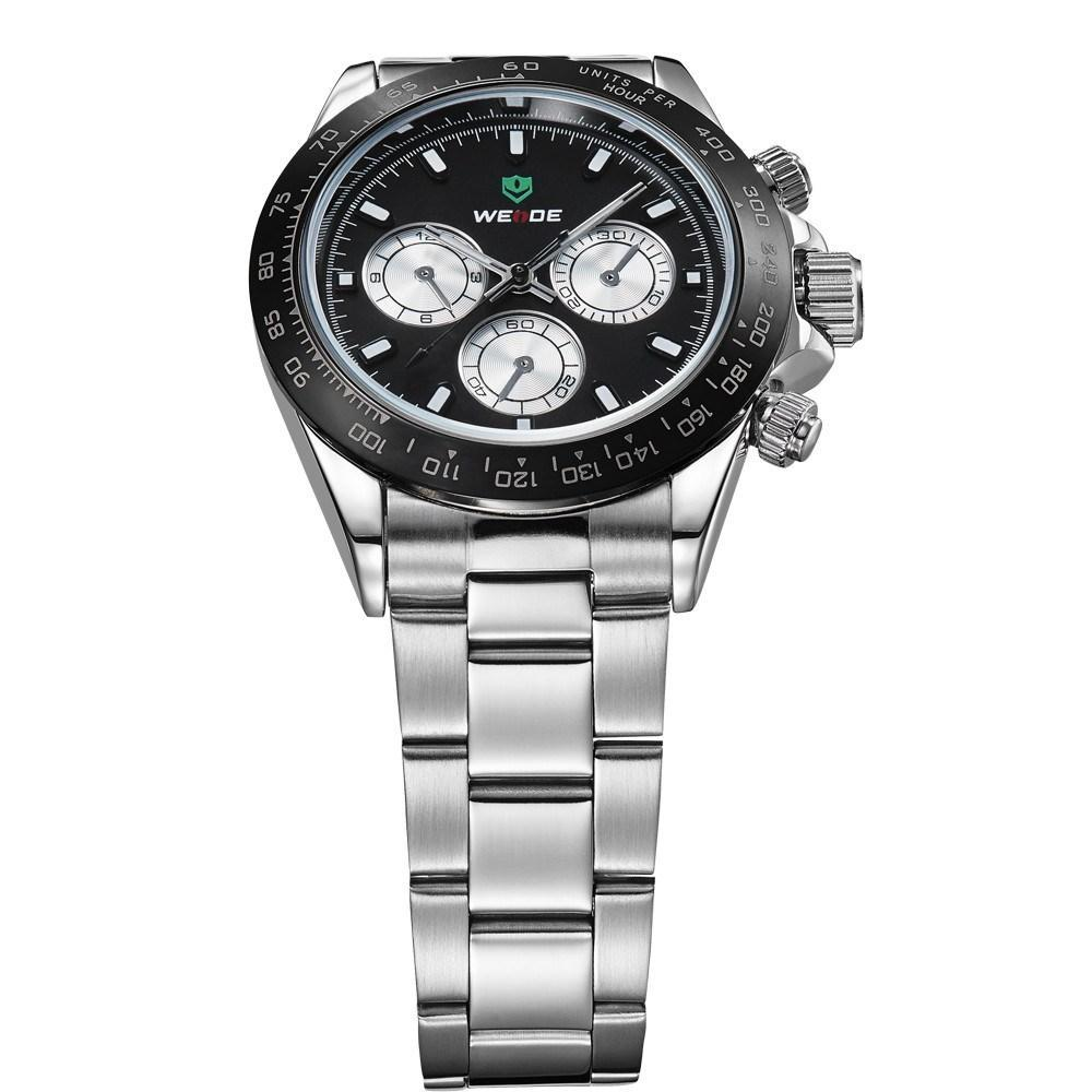 Watches - Weide Analog Time Stainless Steel Watch For Men - WH3309-1C-BLACK DIAL