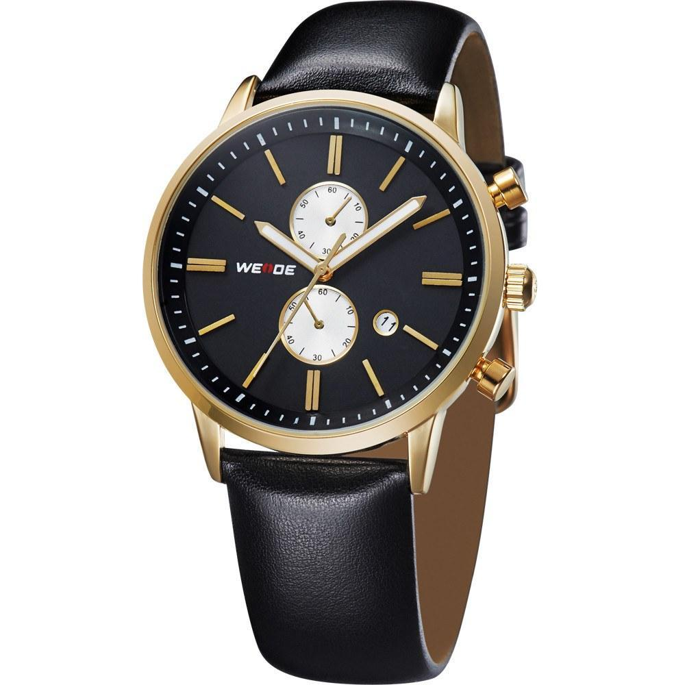 Watches - Weide Analog Two-tone Black Leather Strap Watch For Men - WH3302G-1C-BLACK DIAL