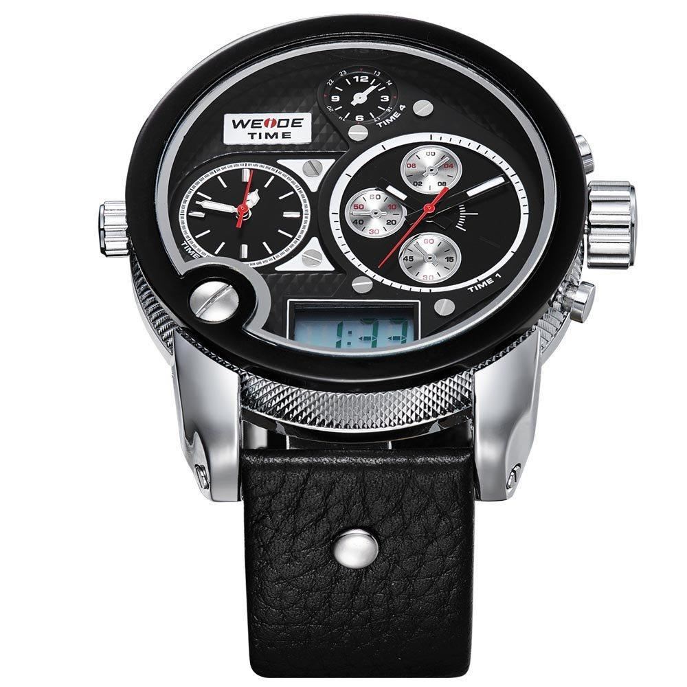 Watches - Weide Dual Analog And LCD Digital Genuine Leather Watch For Men - WH2305-1C-BLACK DIAL