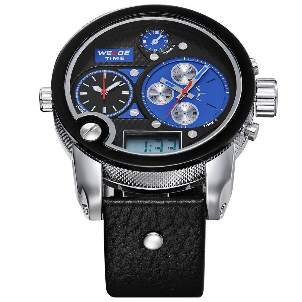 Watches - Weide Dual Analog And LCD Digital Genuine Leather Watch For Men - WH2305-3C-BLUE DIAL