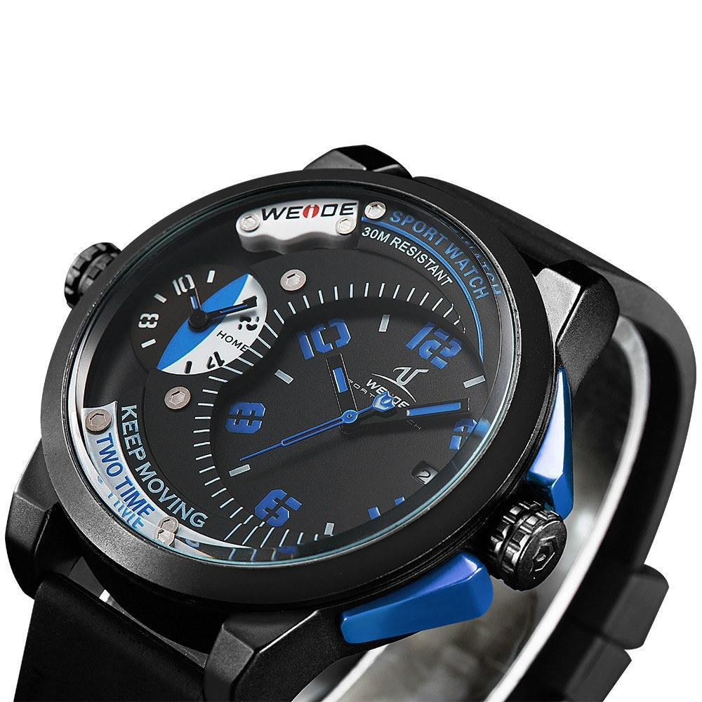 Watches - Weide Dual Analog Time Black Silicon Strap Watch For Men - UV1501-3C-BLUE INDEX