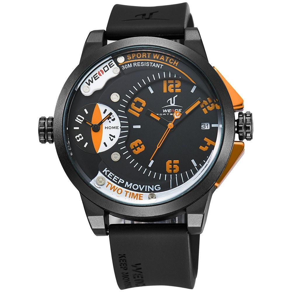 Watches - Weide Dual Analog Time Black Silicon Strap Watch For Men - UV1501-4C-ORANGE-INDEX