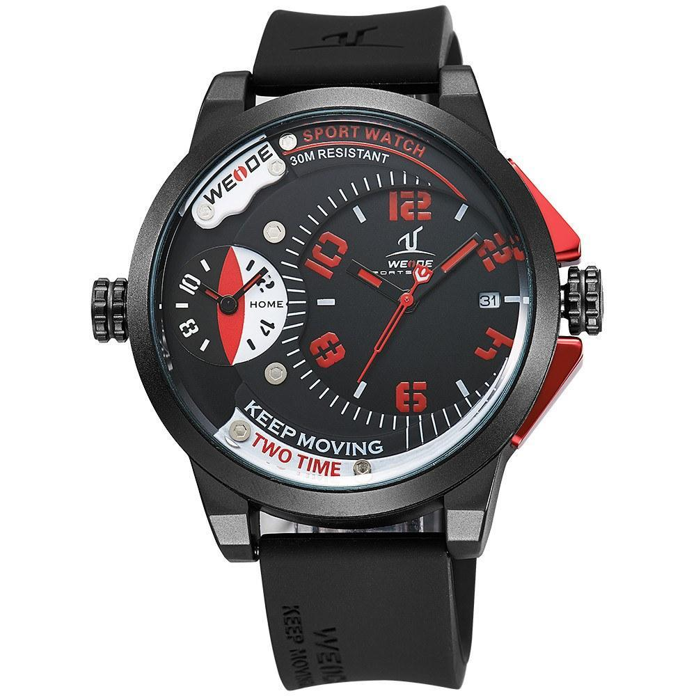 Watches - Weide Dual Analog Time Black Silicon Strap Watch For Men - UV1501-5C-BLK RED INDEX